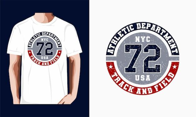 Leichtathletik-typografie-emblem, t-shirt-stempelgrafiken, t-shirt-druck, sportbekleidung.