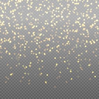 Leichte abstrakte leuchtende bokeh-lichter. bokeh lichtereffekt lokalisiert auf transparentem hintergrund. festlicher lila und goldener leuchtender hintergrund. weihnachtskonzept.