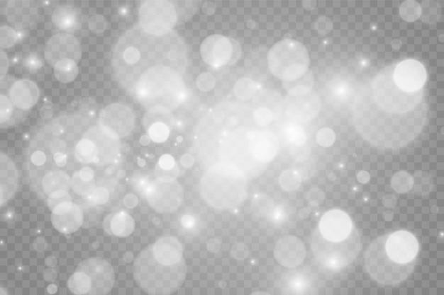 Leichte abstrakte leuchtende bokeh-lichter. bokeh lichtereffekt lokalisiert auf transparentem hintergrund.