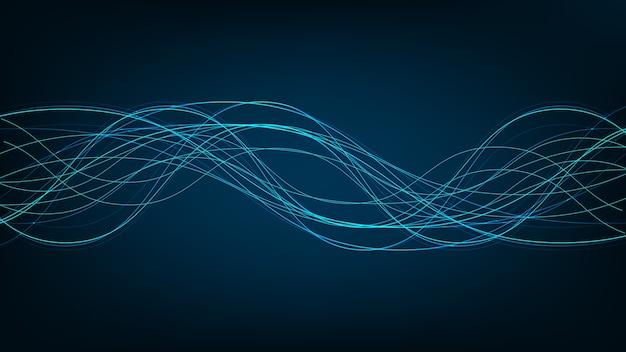 Leichte digitale schallwelle auf technologischem hintergrund, fließendes konzept, design für musikstudio und wissenschaft