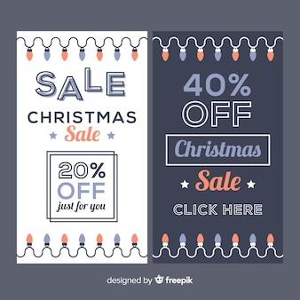 Leichte girlande weihnachtsverkauf banner