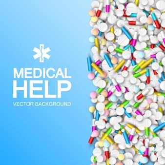 Leichte medizinische behandlungsschablone mit bunten kapseltabletten und drogen auf blau