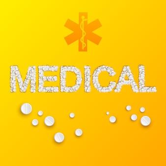 Leichte medizinschablone mit medizinischer inschrift von pillen und drogen auf gelb