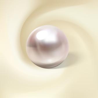 Leichte seide, gerollt um eine realistische perle