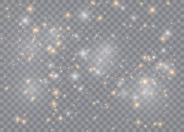 Leichte sterne mit glüheffekt. funkelnde magische staubpartikel.