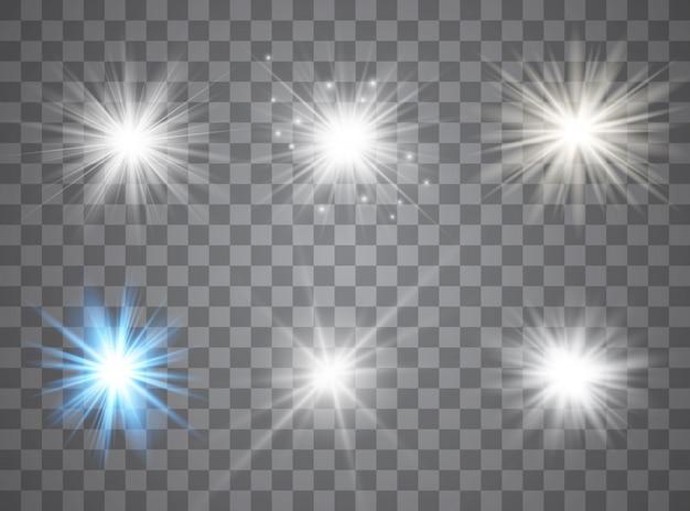 Leichte sterne mit glüheffekt. funkelnde magische staubpartikel