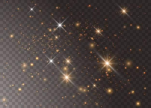 Leichte sterne mit glüheffekt. funkelt auf transparentem hintergrund. abstraktes weihnachtsmuster. funkelnde magische staubpartikel.