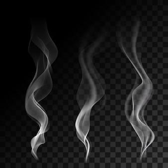 Leichte zigarettenrauchwellen auf transparenter hintergrundvektorillustration