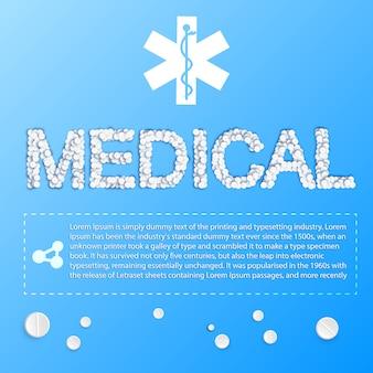 Leichtes medizinplakat mit medizinischer inschrift von pillen und platz für ihre textillustration