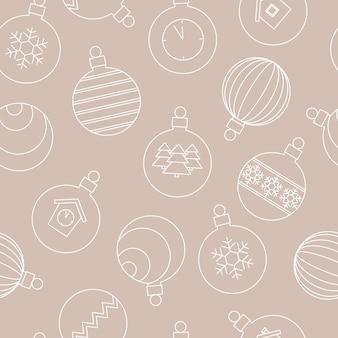 Leichtes nahtloses muster mit weihnachtskugeln, festlich mit weißer linearer illustration auf beigem hintergrund. .