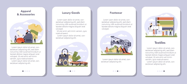 Leichtindustrie sektor der wirtschaft mobile application banner set