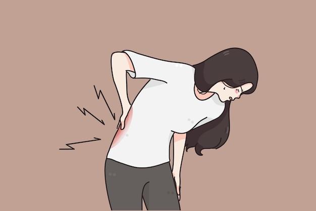 Leiden unter chronischen rückenschmerzen konzept Premium Vektoren