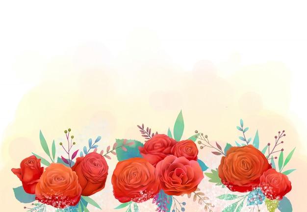 Leidenschaftliche rote rosenblumenaquarellillustration