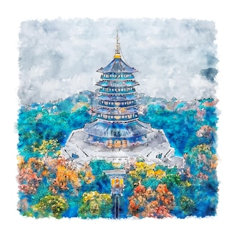 Leifeng pagode china aquarell skizze hand gezeichnete illustration