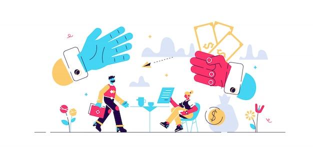 Leihgeld illustration. winziges konzept für finanzschuldner. wirtschaftskrise hilft bei kredit- und gehaltsabrechnungen im voraus. schuldenzahlungsgeschäft und krisensituationsmanagementvertrag.
