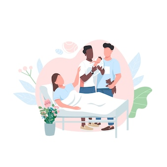 Leihmutter mit gesichtslosem charakter des schwulen paares flacher farbe. babyadoption. lgbt-eltern mit neugeborenen. alternative geborene isolierte karikaturillustration für webgrafikdesign und -animation