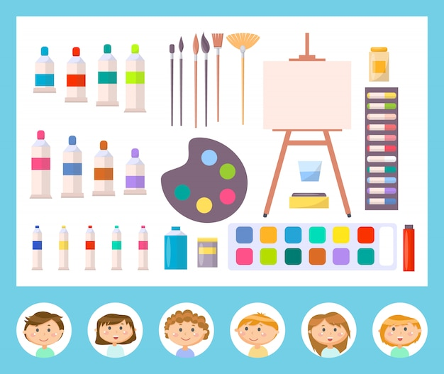 Leinwand und andere werkzeuge zum malen, kid