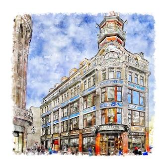 Leipzig deutschland aquarell skizze hand gezeichnete illustration