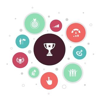 Leistung infografik 10 schritte blasendesign. fortschritt, leistung, ziel, erfolg einfache symbole