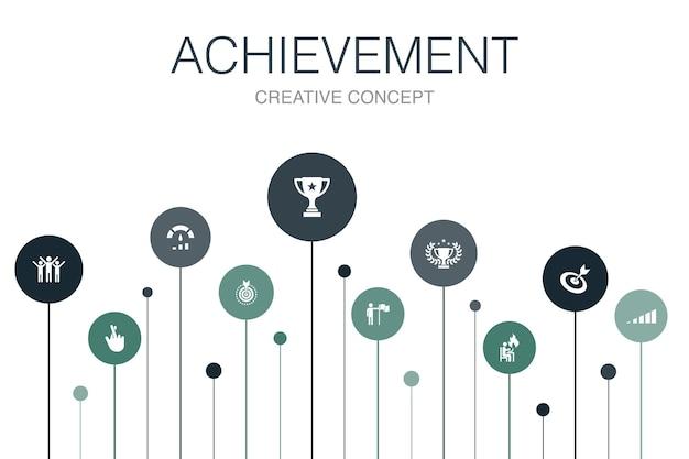 Leistung infografik 10 schritte vorlage. fortschritt, leistung, ziel, erfolg einfache symbole