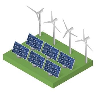 Leistung von windkraftanlagen. isometrisches konzept für saubere energie. windkraft. blaue sonnenkollektoren. flach isometrisch. moderne alternative energie. ökologische energie.