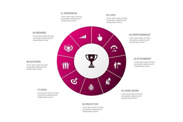 Leistungsinfografik 10 schritte kreisdesign. fortschritt, leistung, ziel, erfolg einfache symbole