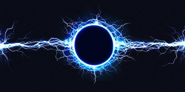 Leistungsstarke elektrische rundentladung, die von seite zu seite schlägt