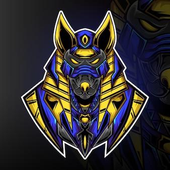 Leistungsstarker anubis-monster-gaming-maskottchen-logo-vektor
