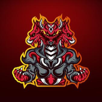 Leistungsstarkes drachenjäger-gaming-maskottchen-logo