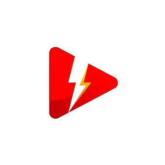 Leistungsstarkes media player-logo mit blitzsymbol