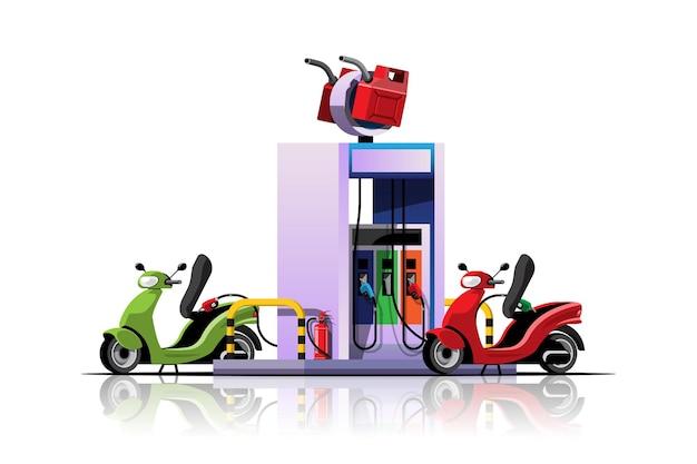 Leistungsstarkes motorrad mit tankfüllung an der ölstation