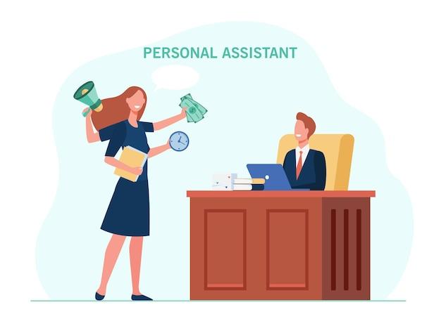 Leiter arbeitet mit persönlichem assistenten