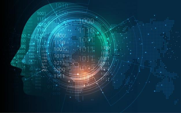 Leiter des digitalen wireframe-punkts der menschlichen künstlichen intelligenz