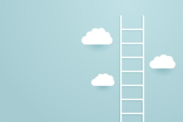 Leiter klettert den himmel mit wolkenhintergrund hoch