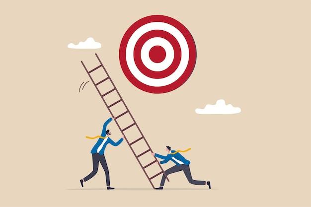 Leiter zum erfolg entwickeln geschäftsziel setzen zielzweck und objektive partnerschaft oder teamarbeit