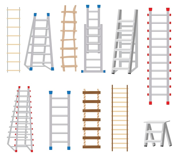 Leitern-set aus verschiedenen materialien: holz und metall