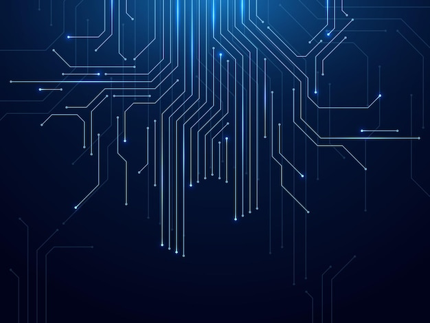 Leiterplatte mit abstrakter futuristischer technologieverarbeitung