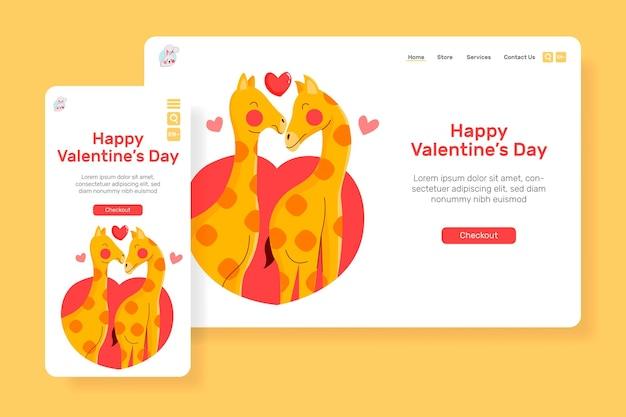Leitseite glücklicher valentinstag mit niedlicher giraffe des illustrationspaares