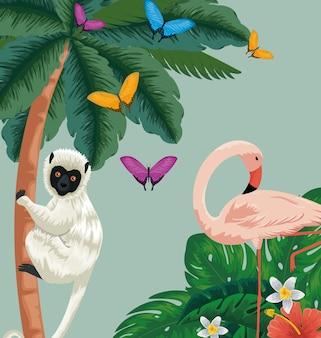Lemur und flamish mit schmetterlingen und blumen pflanzen
