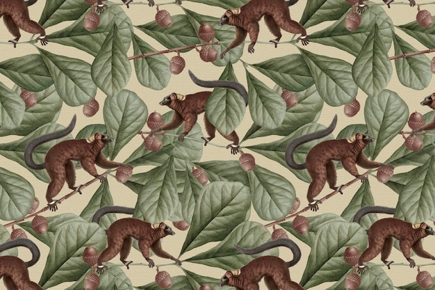 Lemurenmusterhintergrundvektordschungelillustration