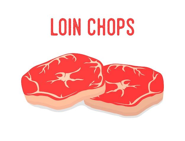 Lendenkoteletts, rotes frisches fleisch. bauernhof schweinefleisch