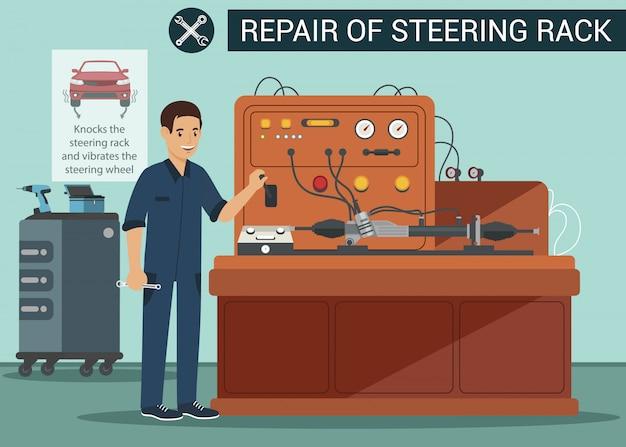 Lenkgetriebe reparieren. mann steuert maschine