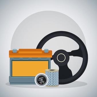 Lenkrad mit autobatterie und luftfilter