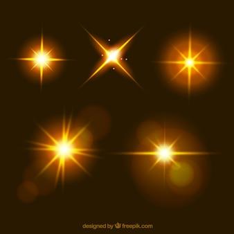 Lens flare kollektion in goldener farbe