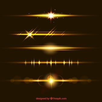 Lens flare teiler kollektion in goldener farbe