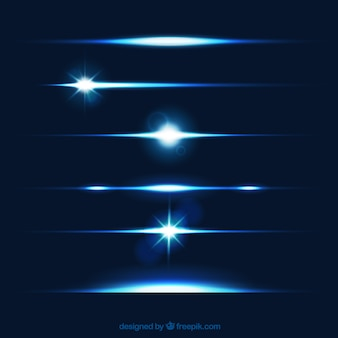 Lens flare teiler sammlung in blauer farbe