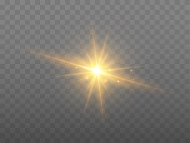 Lens flare vektor-illustration leuchtender funkenlichteffekt isoliert auf transparentem hintergrund