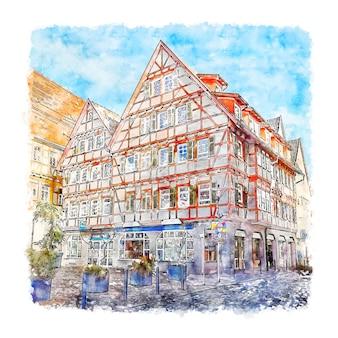 Leonberg deutschland aquarell skizze hand gezeichnete illustration