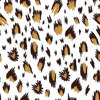 Leopard appaloosa rindsleder pferdehaut drucken nahtlose musterdesign. vektortierstrukturiertes muster mit kleinen braunen flecken auf beigem hintergrund. nahtloses muster des tierdruckes.