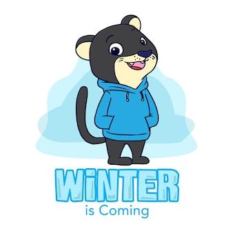 Leopard-hand gezeichnete illustration des winters